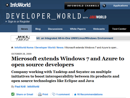 InfoWorld Eclipse Azure