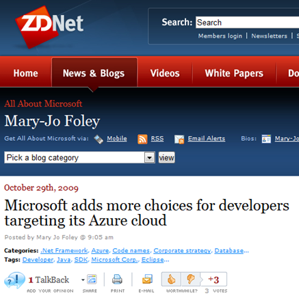 ZDNet Eclipse Azure