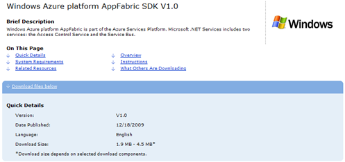 AppFabric SDK DL